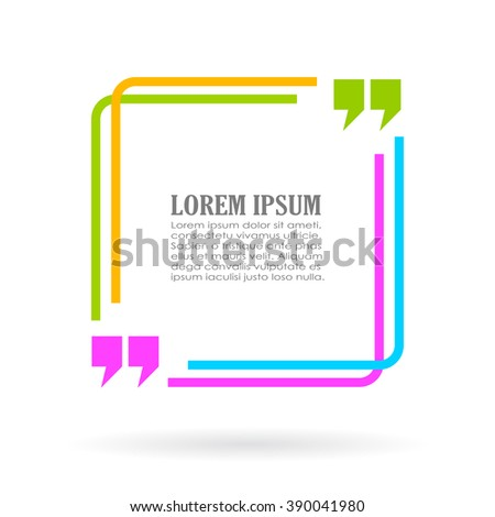 Color quote text frame isolated on white background