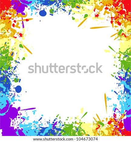 Color rainbow paint splashes for background vector eps - stock vector