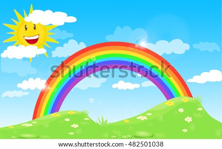 Color Rainbow With Clouds and smile sun, Grass And Flowers, With Gradient blue sky, Vector Illustration