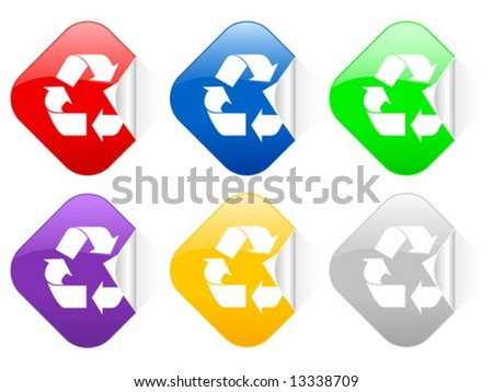 Color Recycle Symbol Square Stickers Vector Stock Vector Royalty
