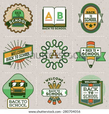 Color retro design insignias back to school logotypes set. Vector vintage elements. Cardboard texture.