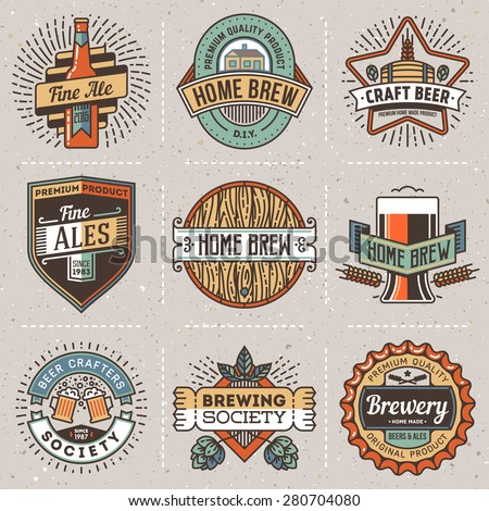 Color retro design insignias line art logotypes home brewery set 2. Vector high quality vintage elements. Cardboard texture. - stock vector