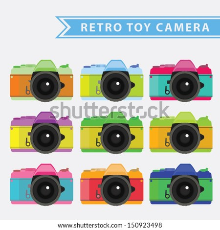 color retro toy camera - stock vector