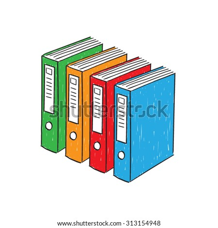Color ring binders, hand drawn vector. - stock vector