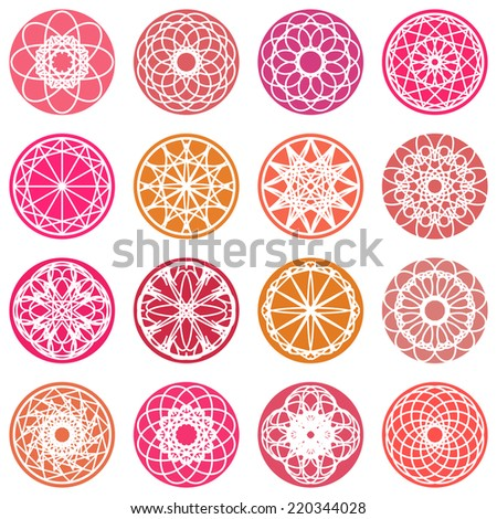 Color round east ornament set. Vector symbols - stock vector