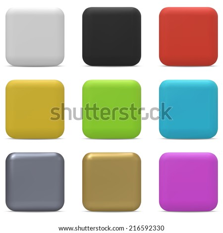 Color rounded square buttons isolated on white background. - stock vector