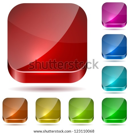 Color rounded square glass buttons vector set isolated on white background. - stock vector
