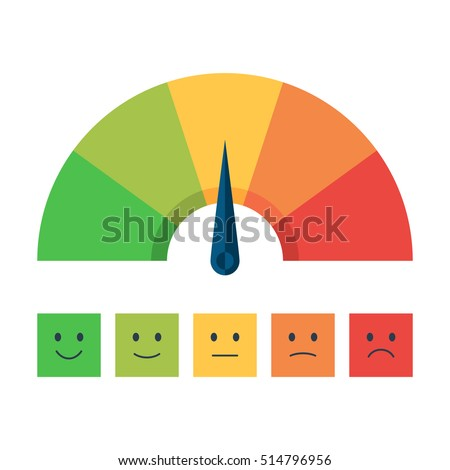 Color Scale With Arrow From Red To Green And The Of Emotions Measuring