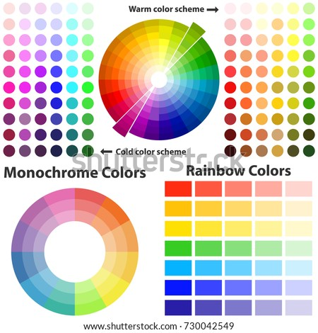 Color scheme  warm and cold colors  Flat design  vector illustration   vector. Color Scheme Warm Cold Colors Flat Stock Vector 730042549