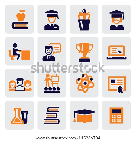 color school and education icons set on gray - stock vector