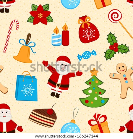 Color seamless pattern with different symbols of Christmas. Vector Illustration