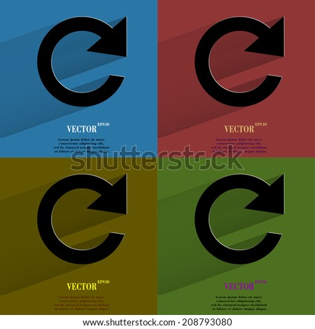 Color set arrow Update. Flat modern web button with long shadow and space for your text. Vector. EPS10 - stock vector