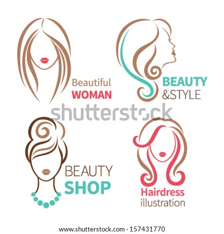 Color set of four beauty icon. Female heads with beautiful hair - stock vector