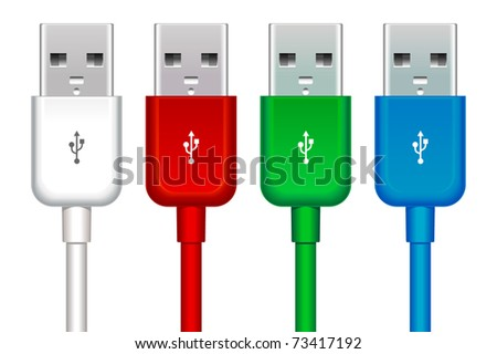 color set of four usb buses - stock vector