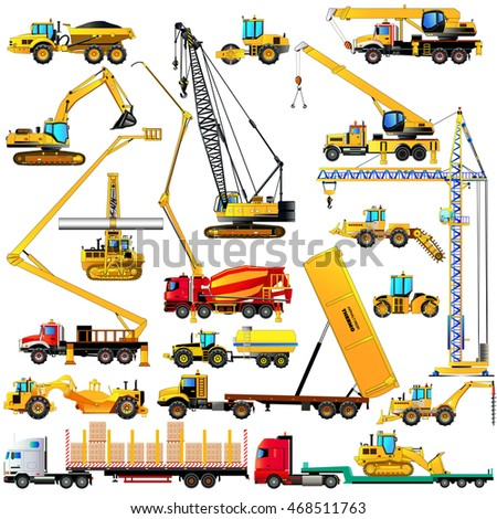 Color set of heavy construction machines icons, on white background. Vector illustration of industrial equipment and machinery. Isolated on white. Flat style
