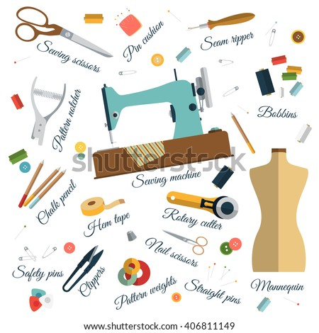 Color Set Objects Sewing Names Handicraft Stock Vector (Royalty Free) 406811149 - Shutterstock