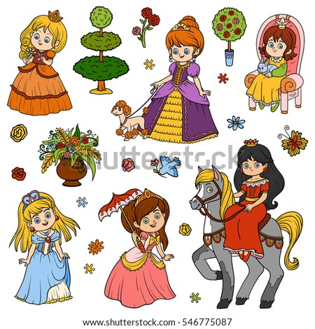 color set of princess vector cartoon collection of childrens characters