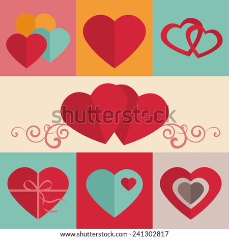 Color set of retro hearts, Greeting card