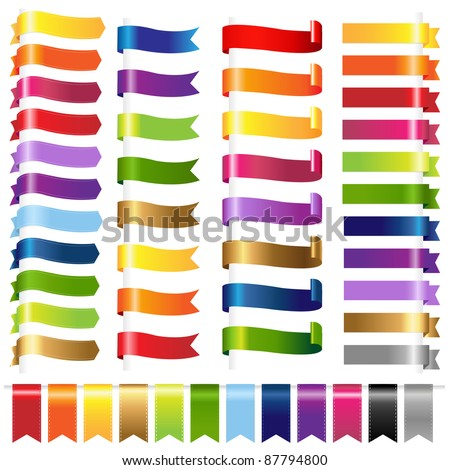 Color Set Web Ribbons, Isolated On White Background, Vector Illustration