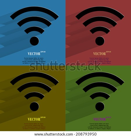 Color set WI-FI. Flat modern web button with long shadow and space for your text. Vector. EPS10 - stock vector