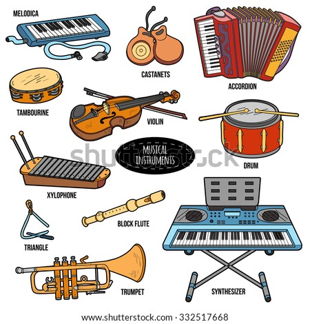 Color set with musical instruments, vector cartoon collection - stock vector