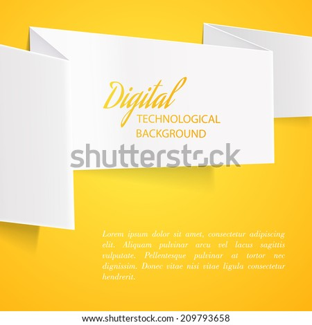 Color sheet of paper with folds and text for your design. Vector illustration. - stock vector