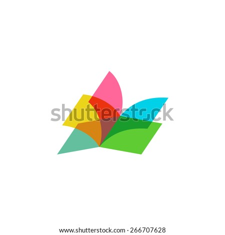 Color sheets transparent open book logo - stock vector