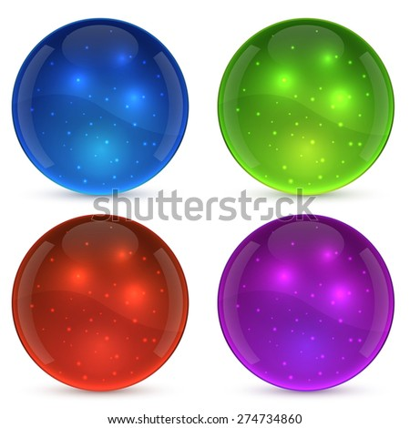 Color shiny glass ball isolated on white background. - stock vector
