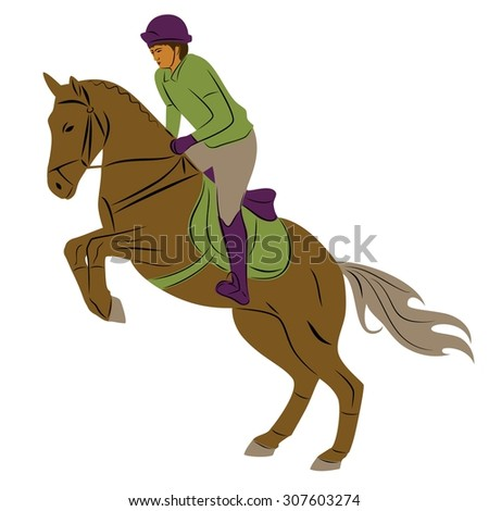 color silhouette , rider on horse, white background , isolated sketch - stock vector