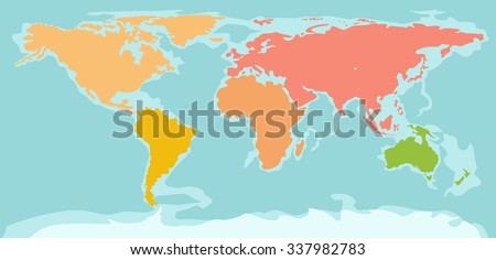 Color silhouette world map continents silhouettes stock vector color silhouette world map continents silhouettes of continents world map minimal flat style gumiabroncs