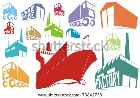 Color silhouettes or stamp images of logistics, supply chain items (warehouse, factory, container ship, truck, van) - cartoon vector outline / silhouette illustration set - stock vector