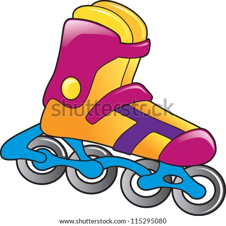 color skating boot vector - stock vector