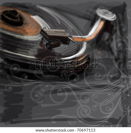 color sketch of an old turntable & floral calligraphy ornament - vector ilustration / eps10 - stock vector