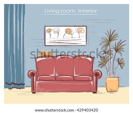 Color Sketchy Interior Illustration Living Room Vector Stock Vector ...