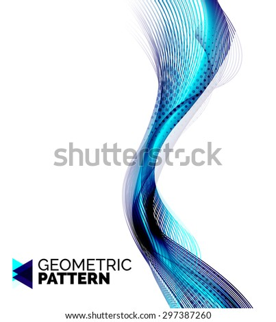Color smoke wave isolated on white. Abstract background or design element for your message presentation, business card - stock vector