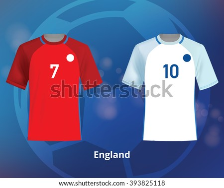 Color soccer T-shirts of England. Football team equipment - stock vector