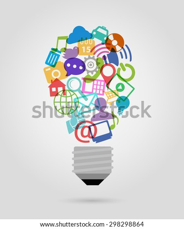 color social media icons,  bulb shape - stock vector
