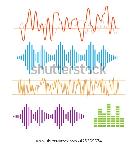 Color sound waves. Music technology, digital design, stereo equalizer eps10 - stock vector