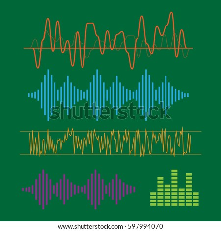 Color sound waves. Music technology, digital design, stereo equalizer. sound waves vector