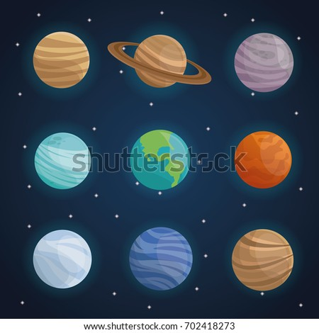 Color Space Landscape Background With Planets Of Solar System