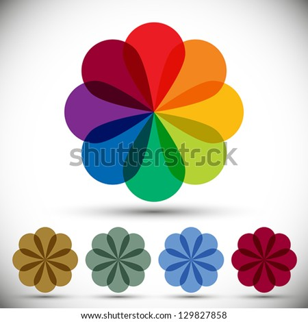 Color spectrum flower, rainbow circle vector icon. - stock vector