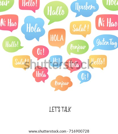 Bonjour stock images royalty free images vectors shutterstock vector illustration with hello in different languages hi hallo stopboris Image collections