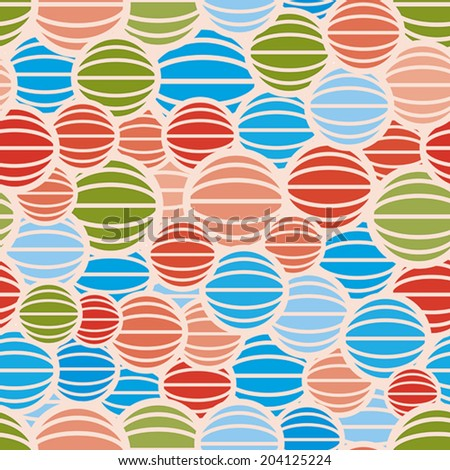 Color spheres seamless pattern, vector background.