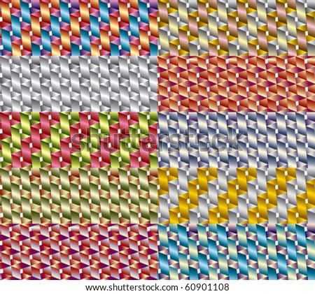 Color square and cube tiles pattern background set