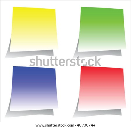Color sticker notes set isolated over white background
