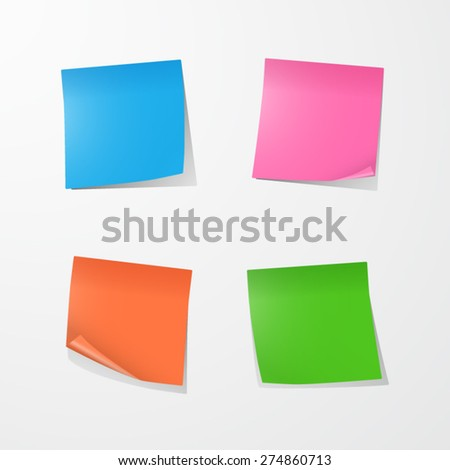 Color Sticky Notes. EPS10 vector.