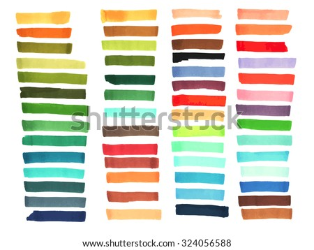 Color stripes drawn with markers. Stylish elements for design. Vector brushes marker stroke bright color - stock vector