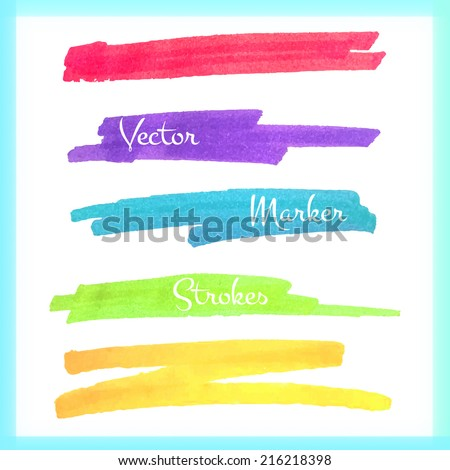 Color stripes drawn with markers. Vector elements for your design. - stock vector