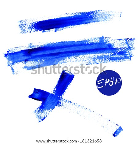 Color Stroke of Blue Paint on white background, traces - stock vector