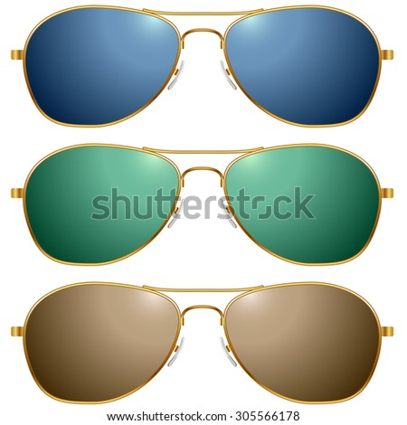 Color sunglasses vector set isolated on white background.  - stock vector